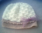 NB-03 Months  -  Sweetheart Lavender-White Cloche W-Faux Pearls