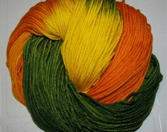 Hand dyed superwash Dk yarn TREES in the MEADOW