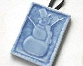 Happy Snowman - Handmade Ceramic Tile Ornament