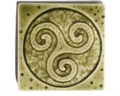 Spiral Triskele Celtic Tile - Handmade 3x3