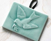 Flying Peace Bird - Handmade Tile Ornament glazed in turquoise glossy crackle - gift tag