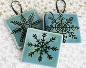Snowflakes - three sets of 3 Handmade Ceramic Tile Ornaments