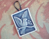 Resesrved for Cynthia - Bird of Peace - handmade ceramic tile ornament - Azure Blue with ribbon to hang