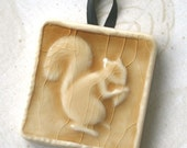 Squirrel Ornament  - Goldenrod glossy crackle glaze - Handmade Ceramic Tile - hang this little squirrel in your window
