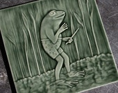 Frog Musician - Amphibian Conductor of the Chorus - Handmade Tile - Kitchen, Fireplace, Wall Decor