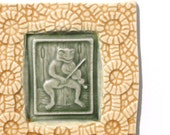 Frog Fiddler with coral background - Handmade ceramic tile for your home
