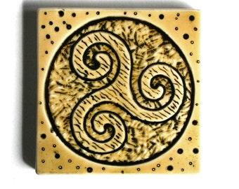 Spiral Triskele Celtic Tile - Handmade 3x3 Ceramic tile - Yellow and Black