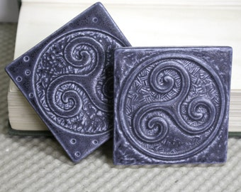Ancient Celtic Symbol of Enlightmentment - Set of 2 Triskele tiles - handmade ceramic tile for home decor