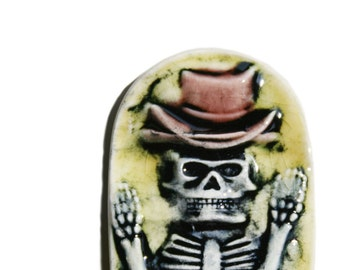 Skeleton Magnet -  Boney decoration in bright yellow and maroon tophat - small handmade tile