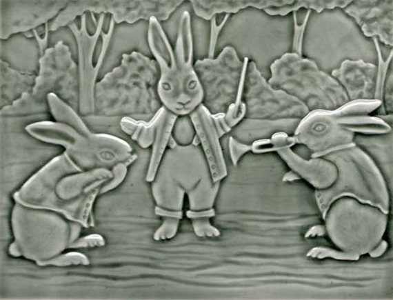 Rabbit Concerto in the Woods - Handmade Ceramic Art Tile - Victorian Postcard