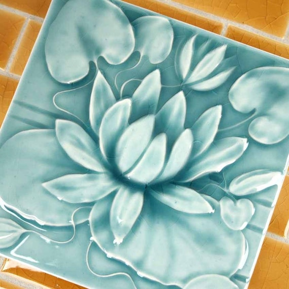 Waterlily - Handmade Ceramic Tile - Victorian style turquoise crackle glaze - for kitchen, bath, fireplace decor