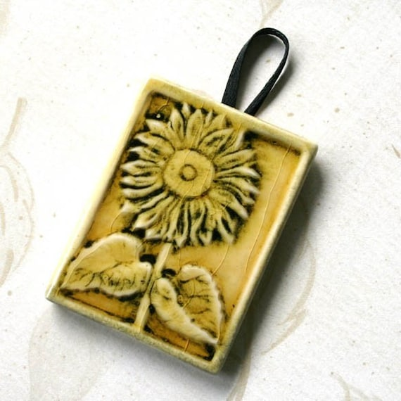 Sunflower Ornament - Sunny yellow with black highlights -  ornament or gift tag
