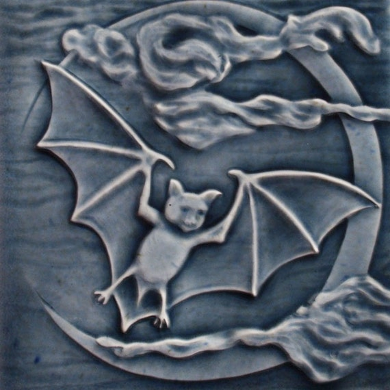 Bat flying past waxing cresent moon - handmade tile to decorate your home
