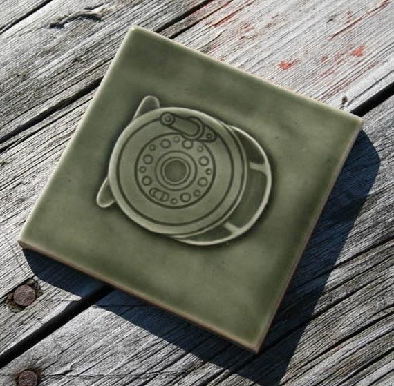 Fly Reel - Fly Fishing Sport - handmade ceramic tile glazed in Walden Green glossy crackle