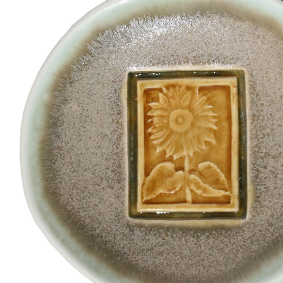 Sunflower Dish - Ceramic Bowl - green and gold - for the gardener or co-worker