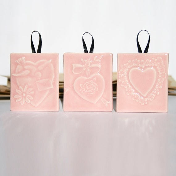 Trio of Victorian Hearts in Pink - small handmade tile ornaments of gift tags - sweetheart gift