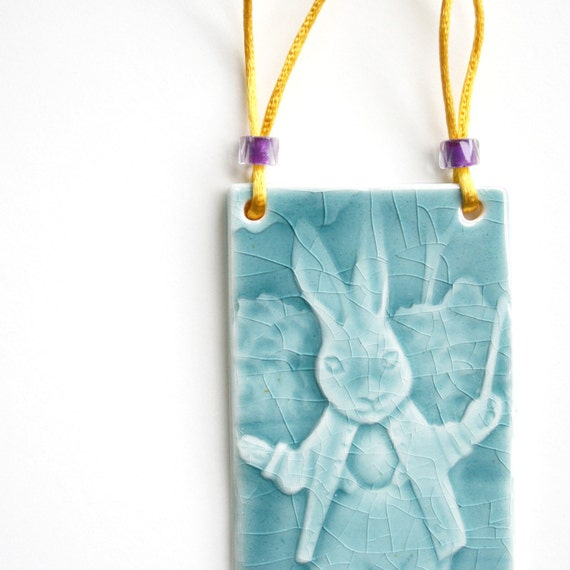 Rabbit wall hanging - handmade ceramic tile with glass beads yellow cotton thread