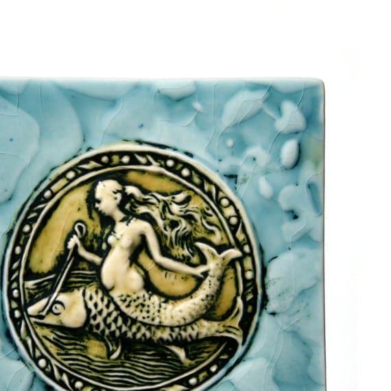 Mermaid and Dolphin - ancient mythological ocean scene - collectible handmade ceramic tile - home decor
