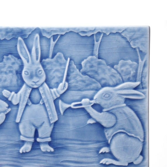 Musical Rabbits - Concerto in the Woods - handmade ceramic tile based on Victorian postcard image for home decor