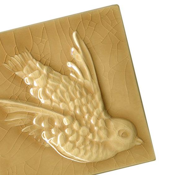 Victorian Bird in flight - bamboo golden yellow - handmade ceramic tile for home decor or gift