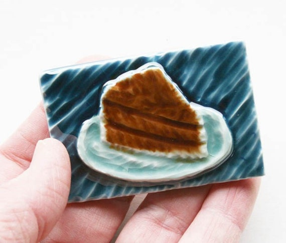 Chocolate Cake Magnet - Hand Carved Ceramic Tile