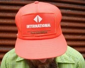 1980s Trucker Hat by International Trucks ORANGE