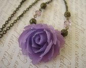Romantic Accent Lavender Rose Necklace
