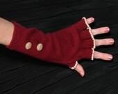 Burgundy Cashmere Fingerless Gloves