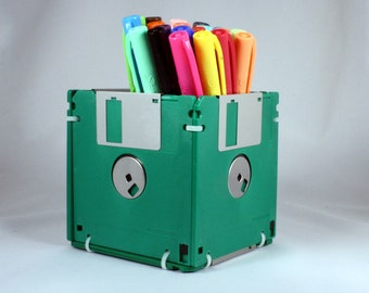 Floppy Disk Pen and Pencil Holder (GREEN)