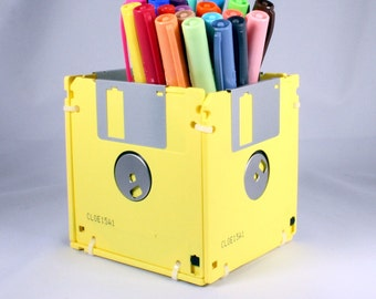Floppy Disk Pen and Pencil Holder (YELLOW)