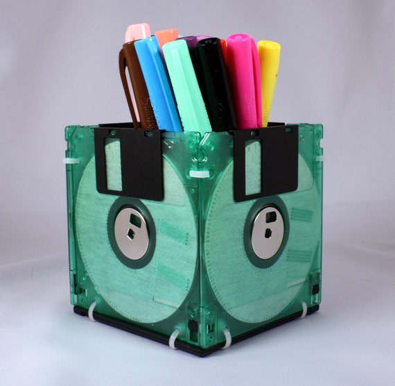 Floppy Disk Pen and Pencil Holder (TRANSLUCENT GREEN)
