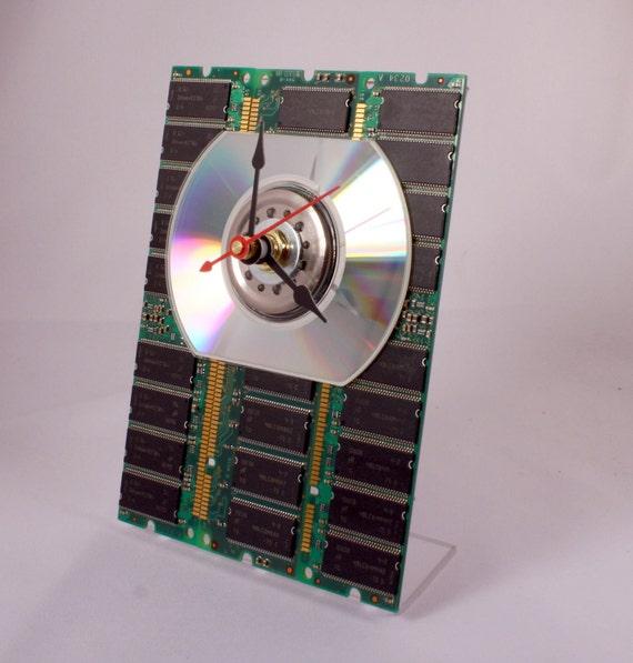 Computer Circuit Board Memory Desk Clock