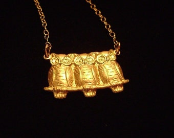 3 Perched Owls Necklace