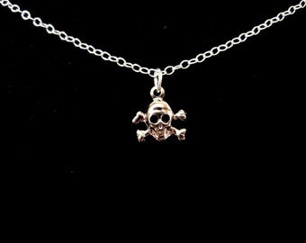 Teensy Tiny Skull and Crossbones Necklace in Silver