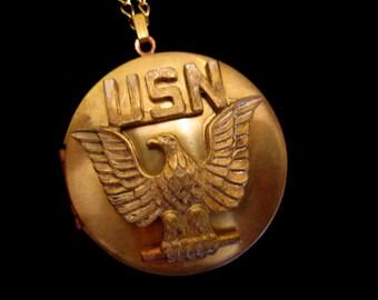 USN Locket Necklace - Vintage