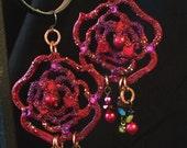 Handpainted Earrings Ravishing RED Rose Chandelier