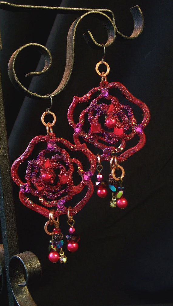 Handpainted Earrings Ravishing RED Rose Chandelier