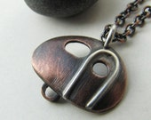 Tiny Camper copper and sterling silver vintage travel trailer pendant