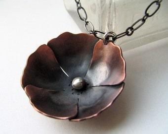 Large Poppy copper blossom pendant