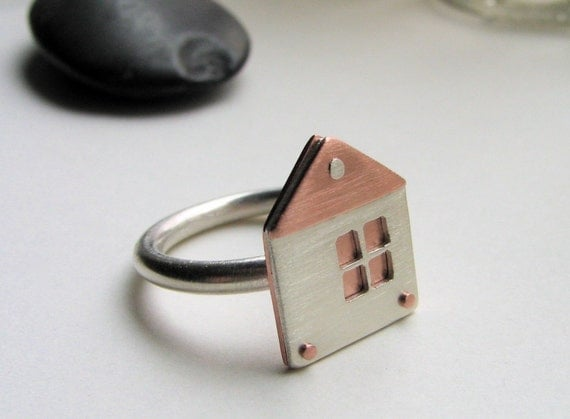You Are Here sterling silver and copper house ring - made to order