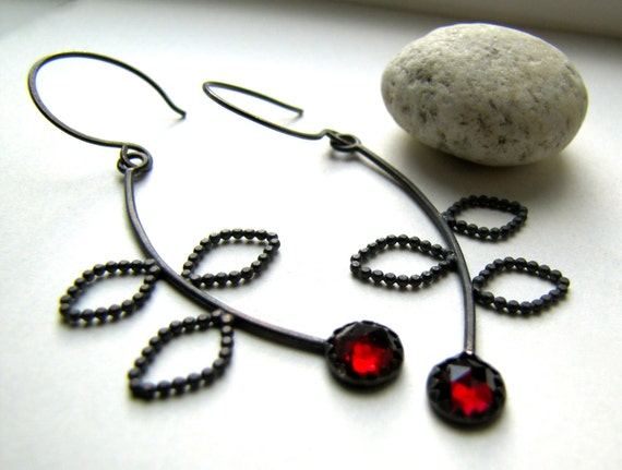 Branch and Berry garnet and sterling silver earrings