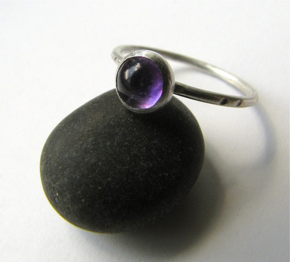 Amethyst and sterling silver stackable ring - made to order