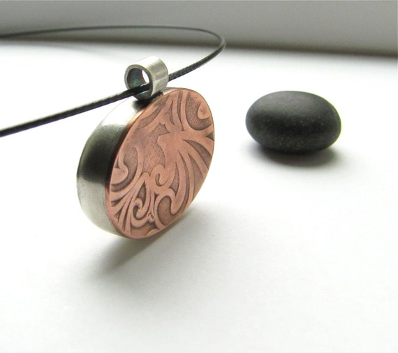 All Who Wander beach stone, sterling silver and copper pendant