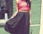 Vintage black pleated skirt with gold geometric pattern - polka dot - fancy tea length 1980s