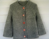 Chunky grey cardigan sweater with vintage peach pink buttons from Italy - soft angora yarn - Small Medium