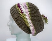 Striped beanie with pom pom - tan with pastel pink and green stripes - oversized slouch beret