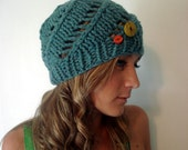Handknit beret hat in recycled eco-friendly Shetland wool \/ cadet blue ONE OF A KIND