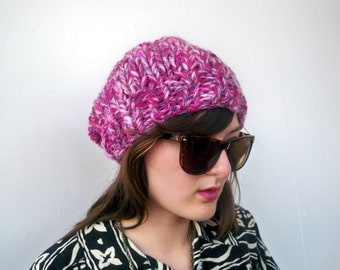 Chunky Knit Pink Multi Beret - Ecofriendly Knitted Hat in Recycled Wool - Handknit Slouch Beanie Hot Pink Eco Friendly Fall Fashion Style