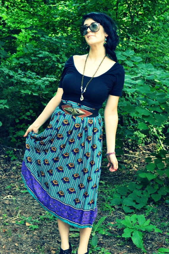 Vintage 1980s floral striped full skirt - Large - teal green stripes with purple and gold flowers