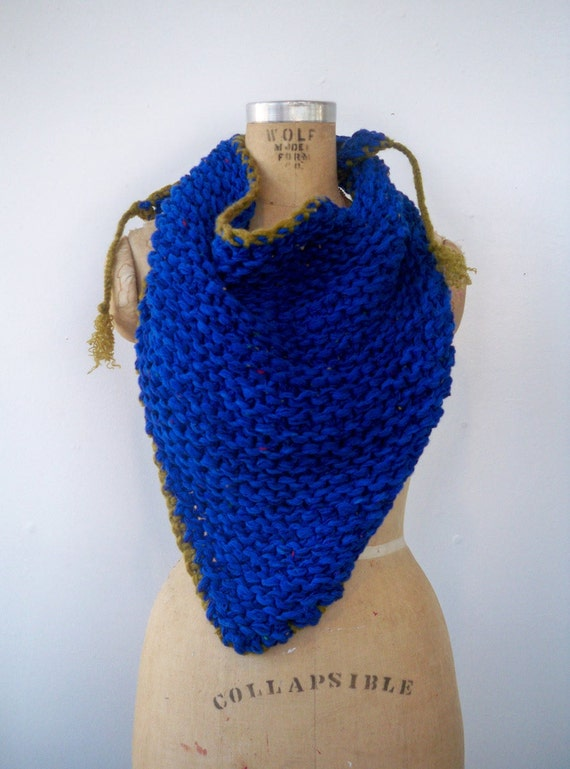 Blue Colorblock Triangle Bandana Scarf - Chunky Knit Oversized Neck Warmer in Cobalt and Pistachio Lime Green - Huge Large Ecofriendly Cowl